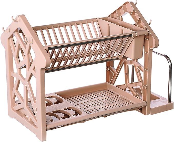 Estante de cocina, marco de madera para poner el escurridor de platos de doble capa de plástico: Amazon.es: Hogar