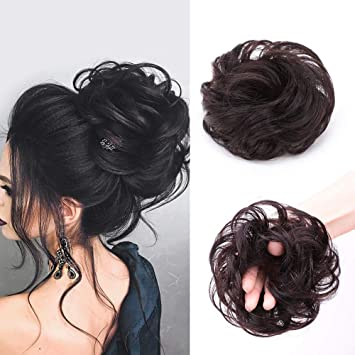 Human Hair Messy Bun Hair Piece For Women Curly Updo Hair Chignon Hair Extensions Wavy Bun Scrunchies 1