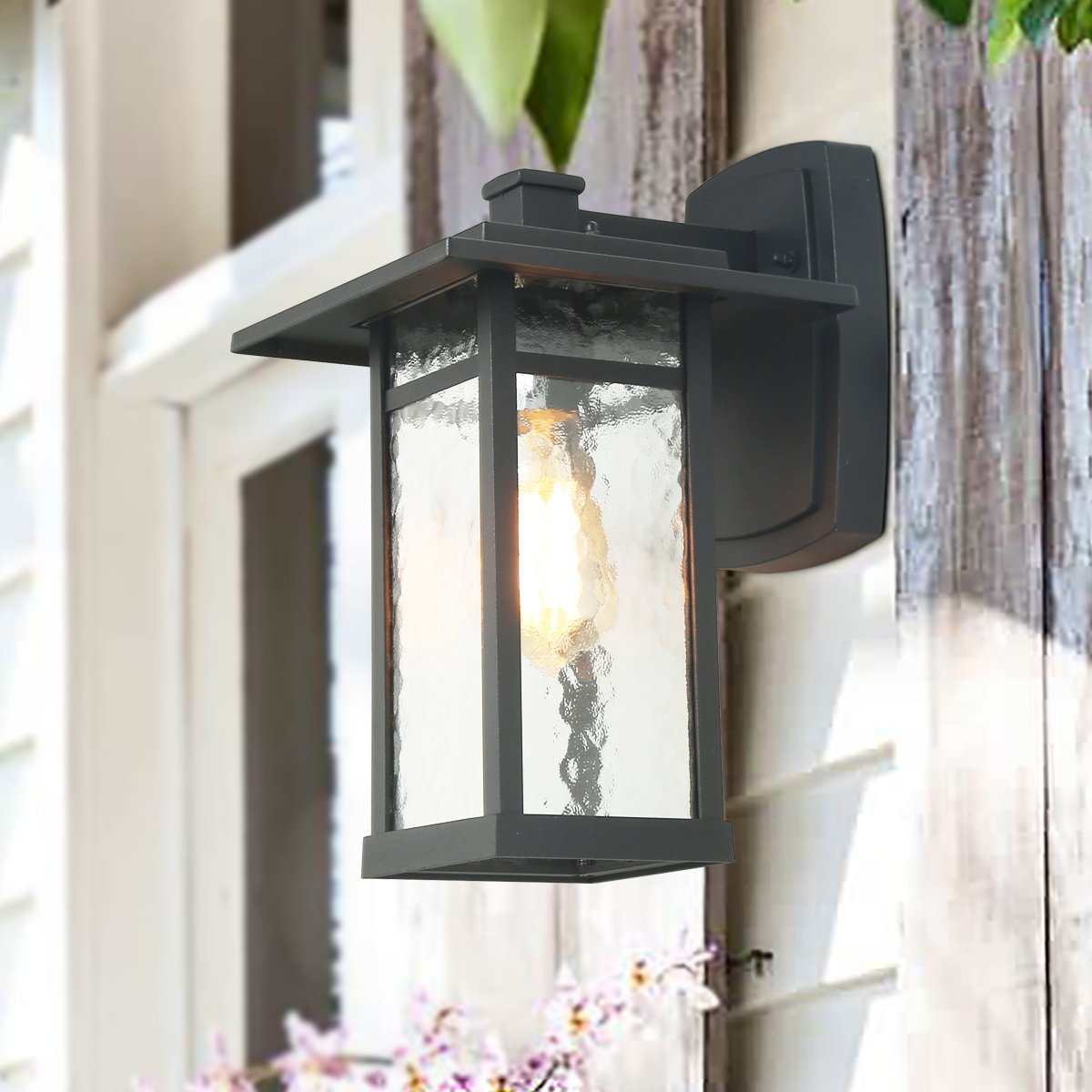LOG BARN A03321 Outdoor Wall Sconce, 1-Light Transitional Porch Lantern Light Fixture in Textured Black with Obscured Glass