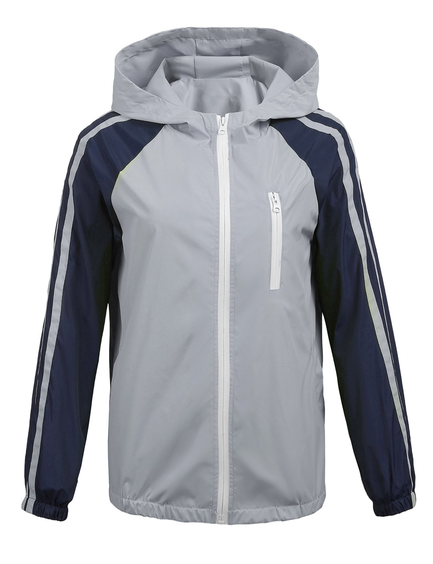 Donkap Women's Spring Windbreaker Waterproof Contrast Color Front-Zip Jacket