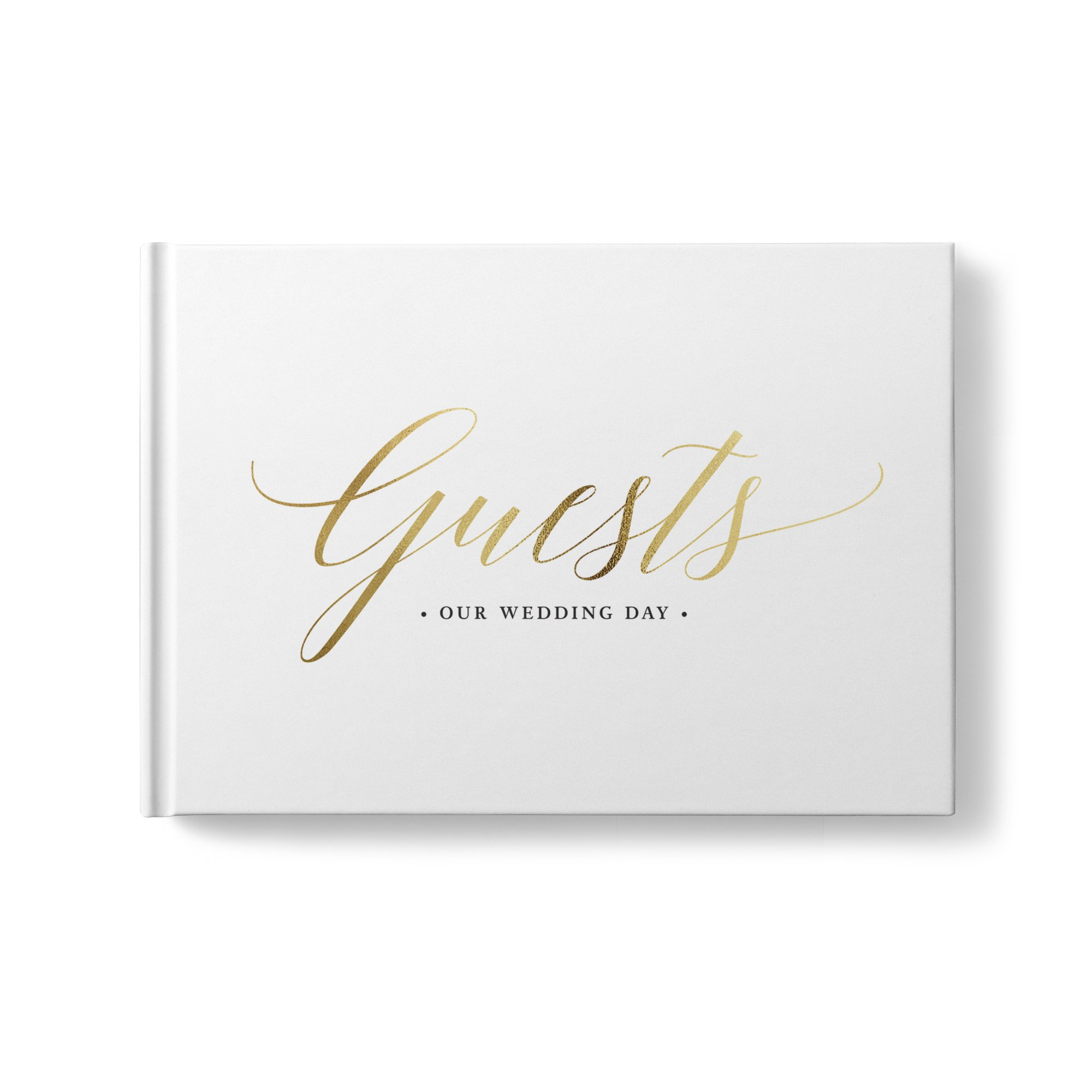 please + thanks Gold Foil Wedding Guest Book, White Casebound Hardcover, Acid-Free Blank White Interior Sheets (9 x 7 Inch)