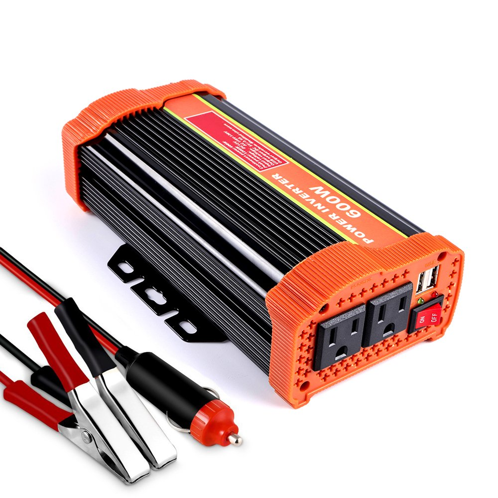 soyond 600W Car Power Inverter Converter DC 12V to 110V/120V AC with 2.1A Dual USB Car Charger Adapter by soyond (Image #1)