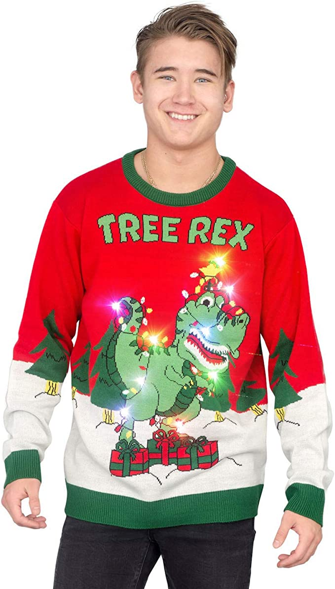 Tree Rex Light Up T Rex Adult Ugly Christmas Sweater