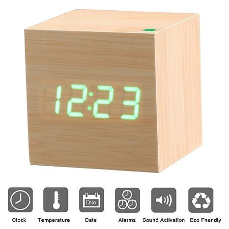 Reloj Digital Despertador de Madera PLUIESOLEIL con Control de Sonido y LED Brillo de la Pantalla con 3 Alarmas Programables y con Indicador de ...