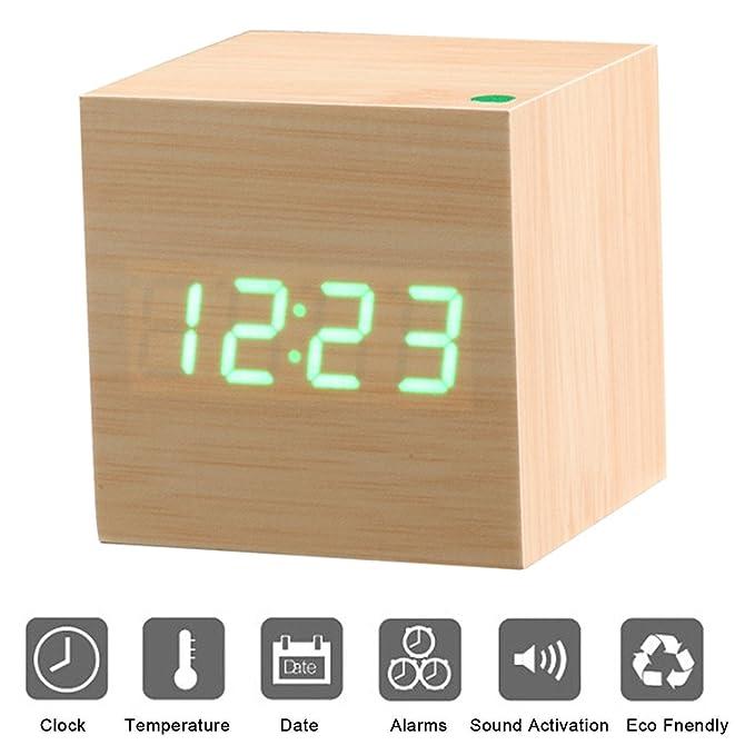 46 opinioni per Sveglia digitale in legno con Display a LED PLUIESOLEIL Sveglia digitale con