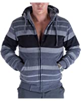 Gary Com Fashion Stripe Sherpa Fleece Lined Hoodies For Men Zip Up Big and Tall Zipper Cool Fishing Sweatshirt On Sale