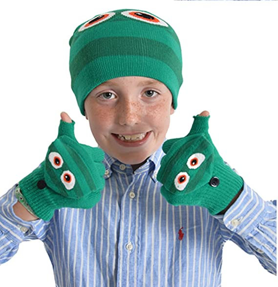 de5037e1099e4 Amazon.com  Childrens Monsters Hat and Gloves Sets GL902 Green Eyes ...