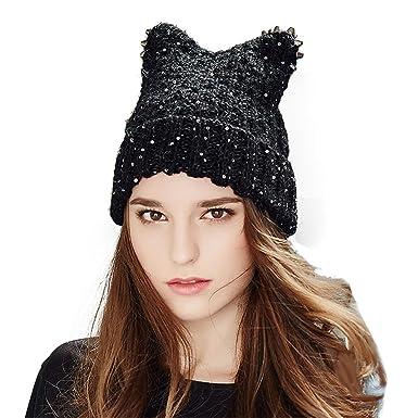 Women s Winter Knitted Hat Crochet Novelty Cat Ears Beret Beanie Ski Cap  Warm Roll Brim Alpaca 0b00d6535caf