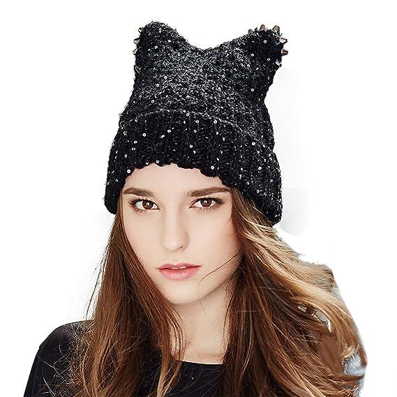 9ea67d785ca Women s Winter Knitted Hat Crochet Novelty Cat Ears Beret Beanie Ski Cap  Warm Roll Brim Alpaca