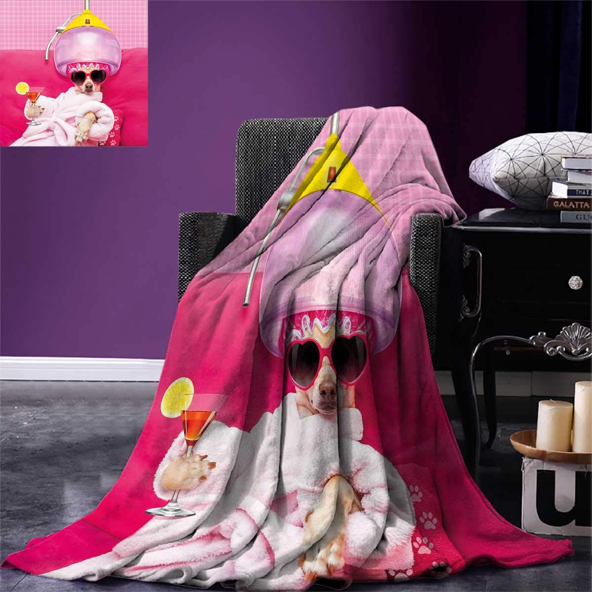 Funny,Couch Blanket,Chihuahua Dog Relaxing and Lying in Wellness Spa Fashion Puppy Comic Print,Custom,Magenta Baby Pink,Size:60''x50''