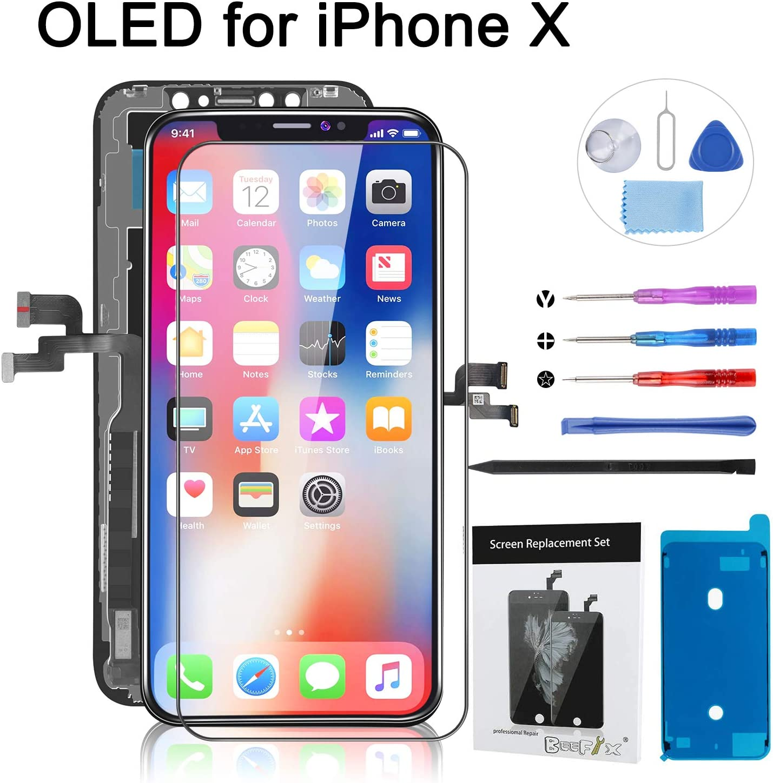 Beefix Reemplazo de Pantalla para GX OLED iPhone X Digitalizador de Pantalla T¨¢ctil OLED 3D Ensamblado con Kit de Reparacion Incluye Vidrio Templado y Kit Completo de Herramientas