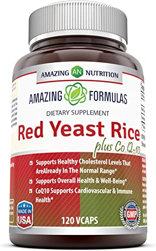Amazing Formulas Red Yeast Rice 600 Mg Plus Co Q-10 50 Mg 120 Vegetarian Capsules Non-GMO,Gluten Free