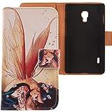 Lankashi PU Flip Leder Tasche Hülle Case Cover Schutz Handy Etui Skin Für LG Optimus L7 II 2 P710 Wing Girl Design