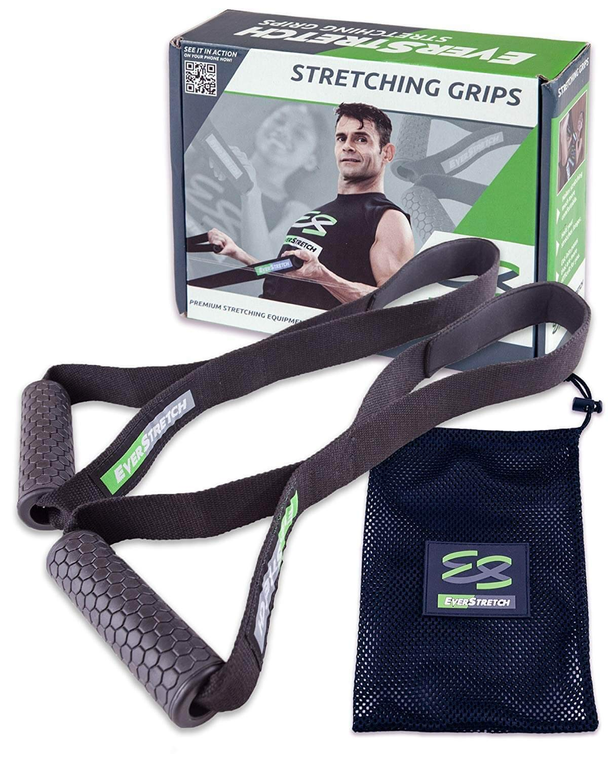 EverStretch Stretching Grips Premium Stretching Equipment for Athletes. Stretch Straps to Reach Impossible Positions Without Discomfort. XESA04AGRIPIFC