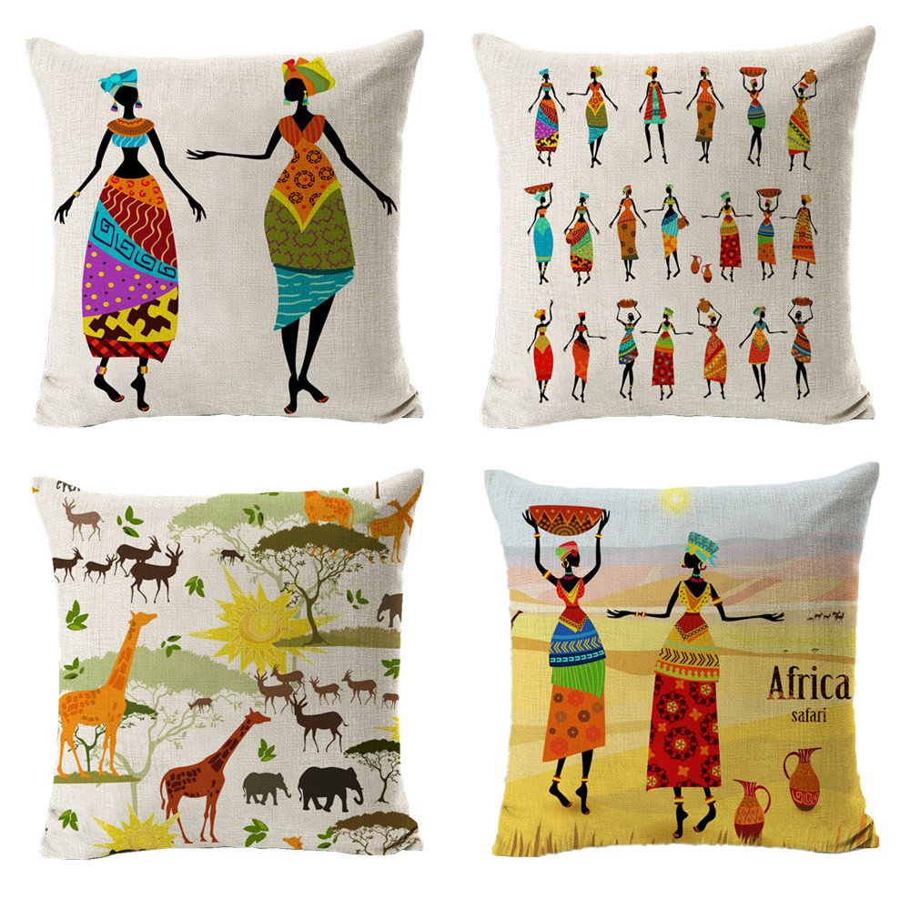All Smiles Ethnic African Decor Throw Pillow Covers Cases Decorative Africa Safari Print Outdoor Cushion Home Décorations 18'' x18'' Set of 4 for Sofa Couch Living Room