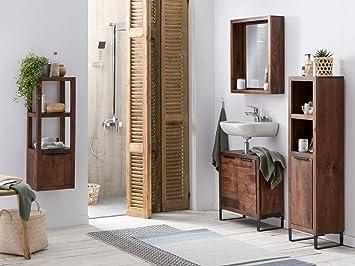 Woodkings® - Juego de Muebles de baño Sydney de Madera de Acacia Oscura rústica, Muebles de baño con pie o Colgantes, para baño pequeño con Armario Alto, estantería, Armario bajo Lavabo y
