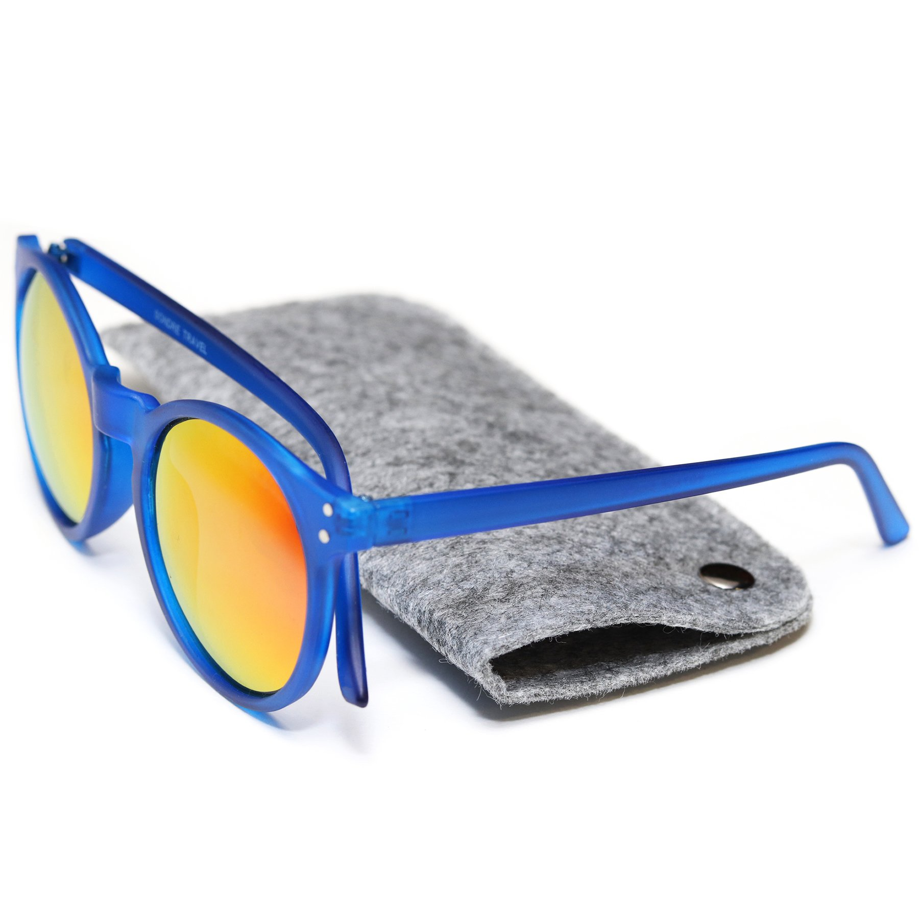Voyage Shades - Premium Polarized Sunglasses with Felt Carrying Case (Frosted Blue)
