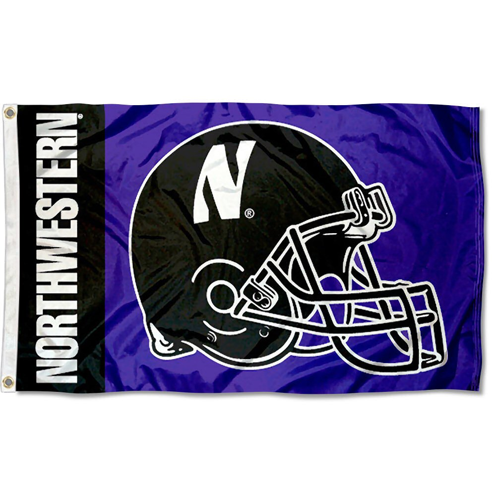 College Flags and Banners Co Northwestern University Football Helmet Flag