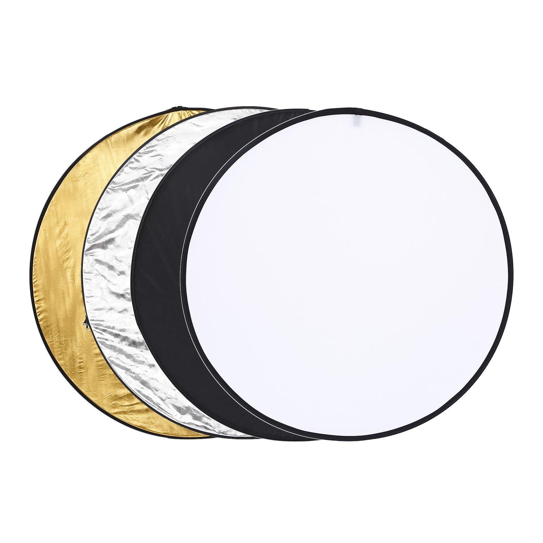 lEshP 110 cm 5 - in - 1ポータブルmulti-disc Collapsible写真フォトReflector半透明、シルバー、ゴールド、ホワイト、ブラック B06ZZ6HK3W