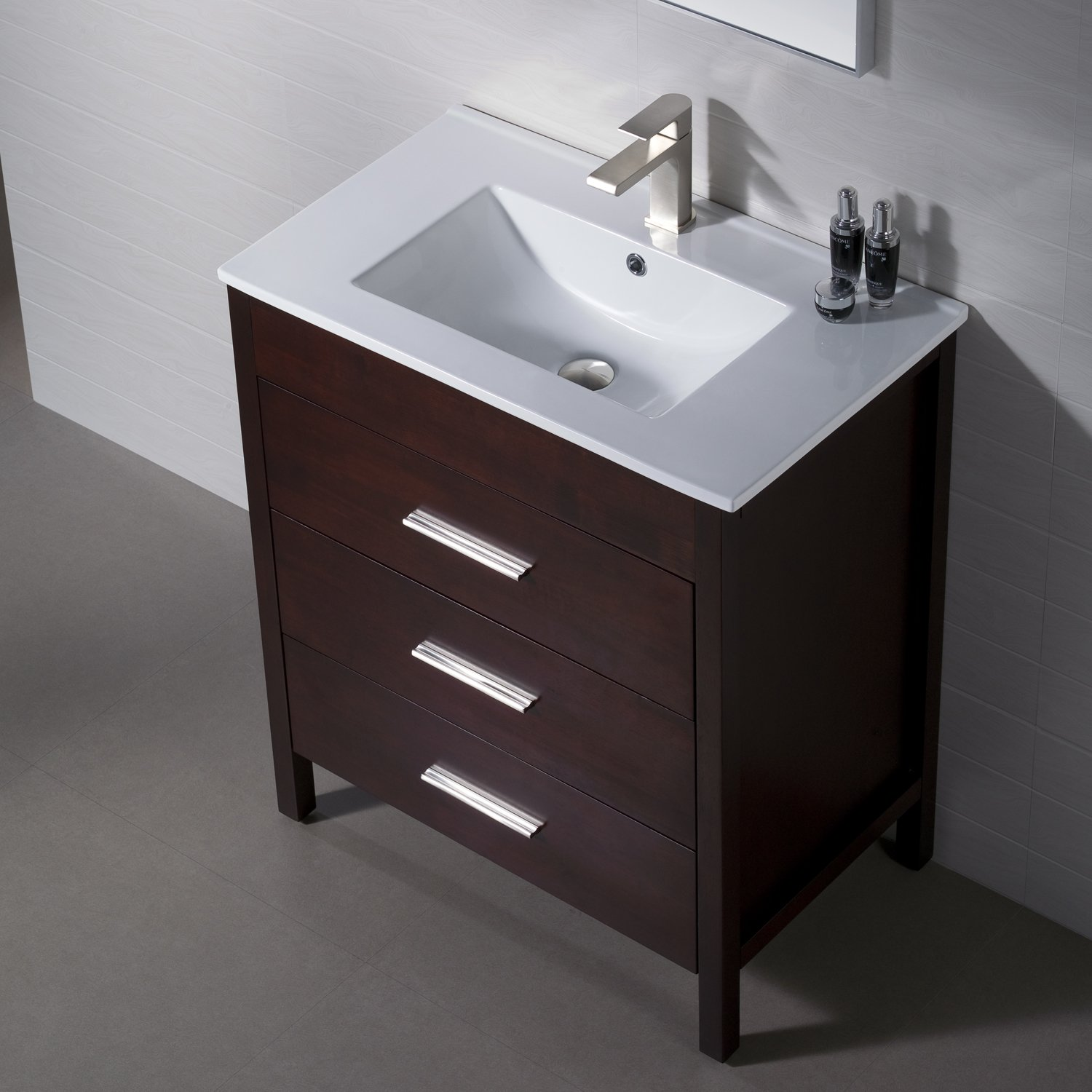 amazoncom bathroom vanity morris 30 dark walnut with porcelain sink top kitchen u0026 dining