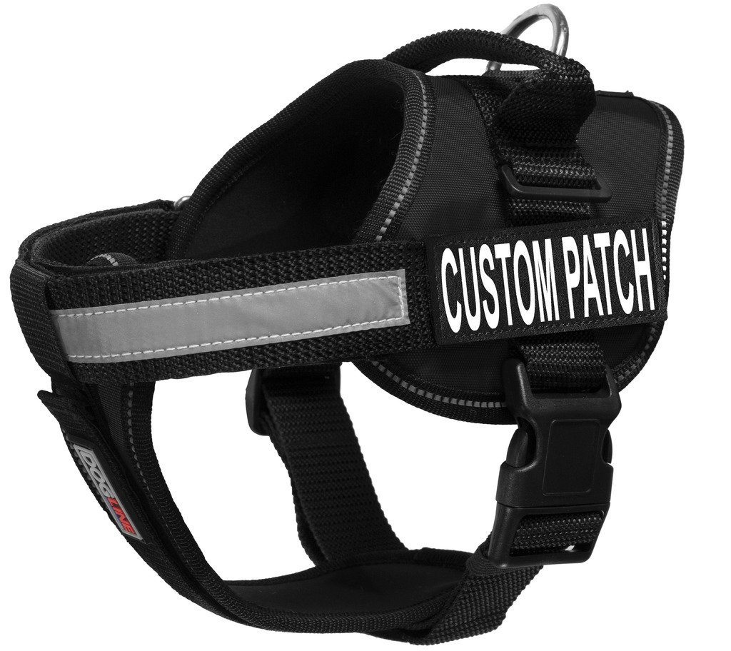 Dogline Unimax Multi-Purpose Vest Harness for Dogs and 2 Removable Custom Patches with White Lettering (Black, X Large (36'' - 46''))