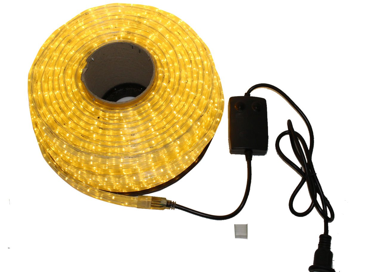 LED イルミネーション 3芯 角型 ロープ ライト 2500球 (50m) シャンパンゴールド 点灯 パターン 28 種類 コントローラー 付 PSE 取得品 防水 B01LW761ZA