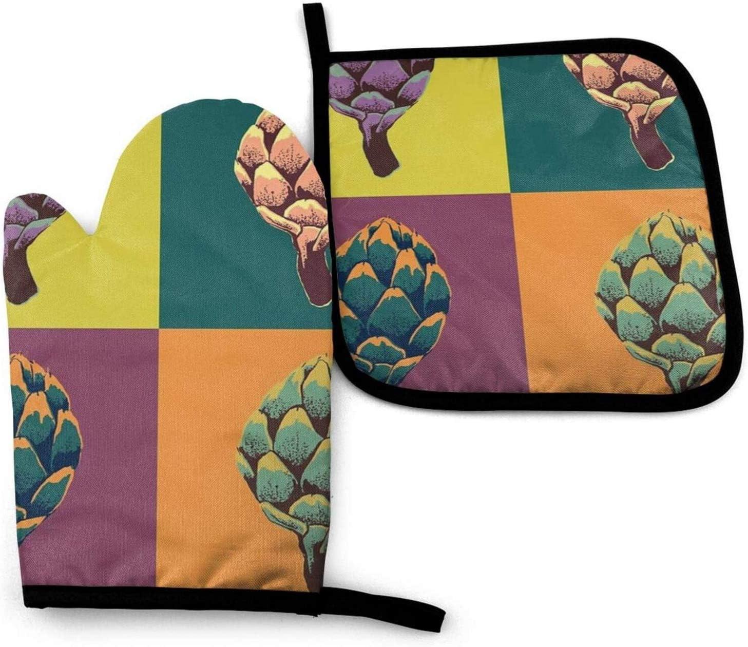 Alcachofa Alcachofa Alcachofa Alcachofa Cocina Horno Manopla y agarraderas Juego de Cocina Guante de Horno Antideslizante Resistente al Calor para cocinar Hornear Parrilla y Barbacoa