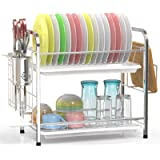 Veckle Dish Drying Rack, 2 Tier Dish Rack Stainless Steel Utensil Holder Cutting Board Holder Dish Drainer with…