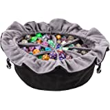 Large DND Dice Drawstring Bags with Pockets Black Storage Bag for RPG MTG Game Dices Capacity Over 300 Dice