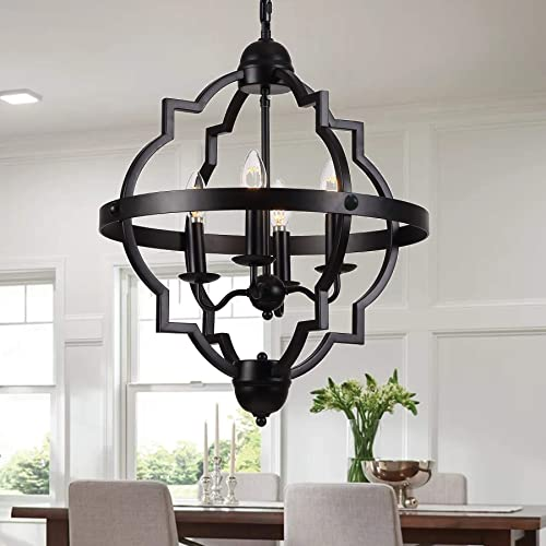 Riomasee 4-Light Orb Chandelier Rustic Farmhouse Chandelier Industrial Black Metal Pendant Light Fixture