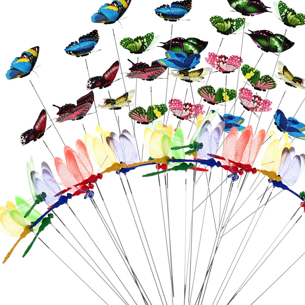 Lwestine 64 Pieces Colorful Garden Butterflies Dragonflies Stakes Ornaments for Outdoor Yard Party Decor Supplies