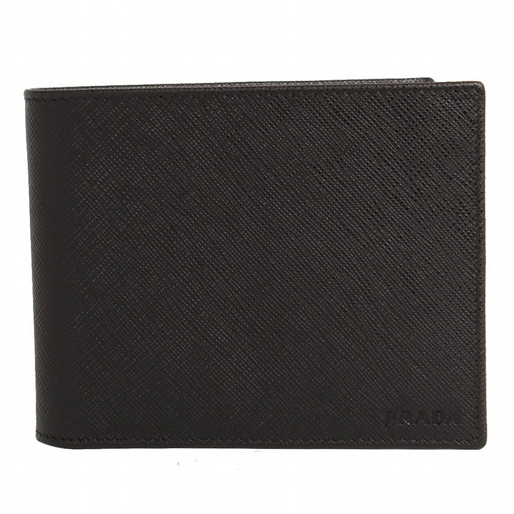 [プラダ PRADA] メンズ 二つ折り財布 BLACK [並行輸入品] B07F2HYKSF