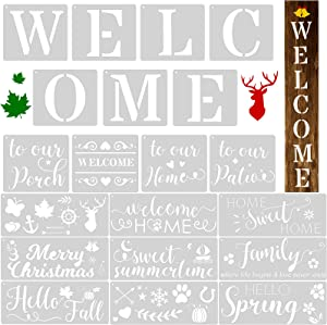 20 Pieces Welcome Home Reusable Stencils Seasonal Stencils for Painting on Wood Farmhouse DIY Home Decor