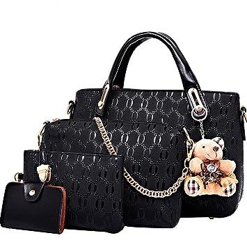 4791c23161da FiveloveTwo Women 4Pcs Top Handle Satchel Hobo PU Leather Handbag Set Large  Tote + Purse + Shoulder Bag + Card Holder Black