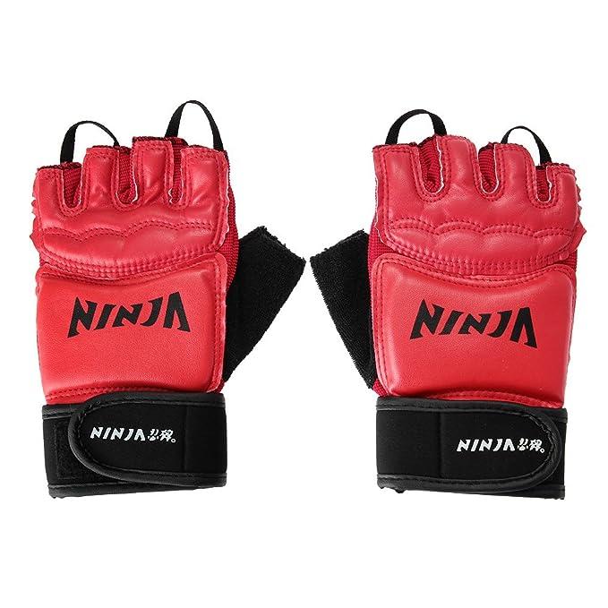 NINJA 1 Par Guantes de Boxeo Protección PU Rojo Combate ...