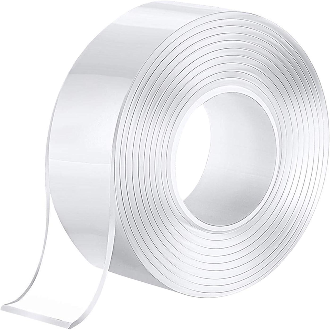 5m aovowog Ruban adh/ésif double face 16.4ft transparent lavable R/éutilisable Antid/érapante Multifonctionnelle Nano Clear Tape pour Maison Photo de mur de tapis