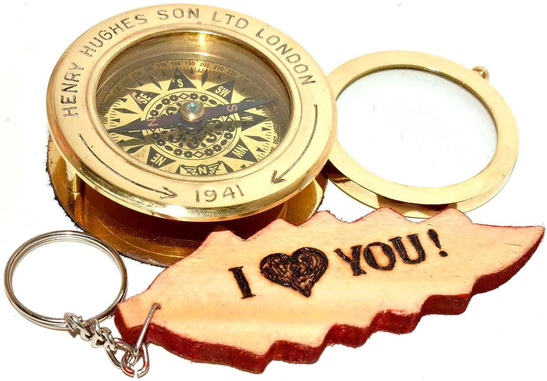 Brass Flip Out Paper Weight Compass Magnifier Slide Out Compass Christmas Gift