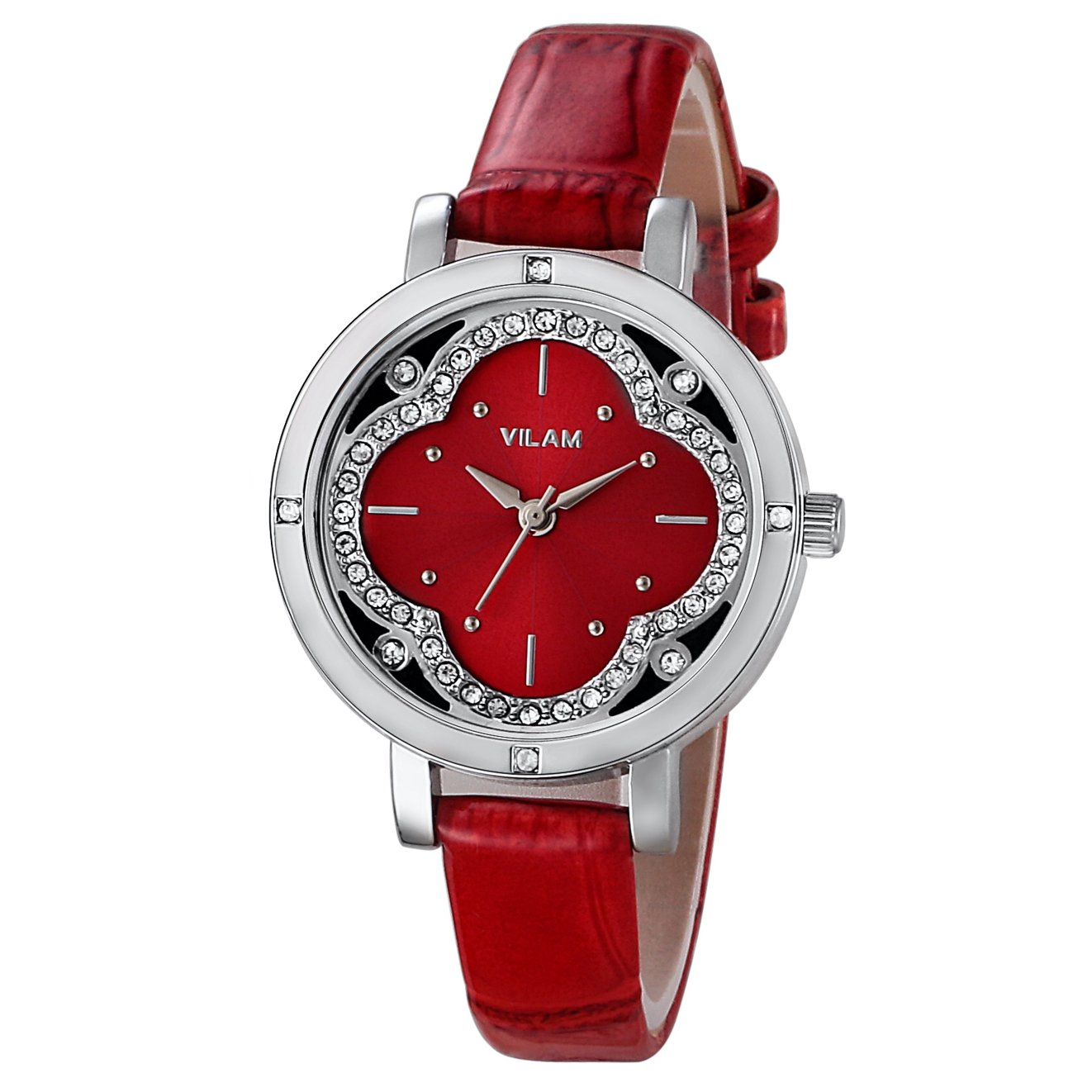 VILAM Women Quartz Wrist Watch Dress Watch Red Clover Dial Watch PRECIOSA Stone WatchRed Strap Ladies Watch 30M Waterproof