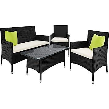 TecTake Conjunto muebles de Jardín en Poly Ratan Aluminio color antracita incluyendo 2 Set de fundas intercambiables+ 4 almohadas, tornillos de acero ...