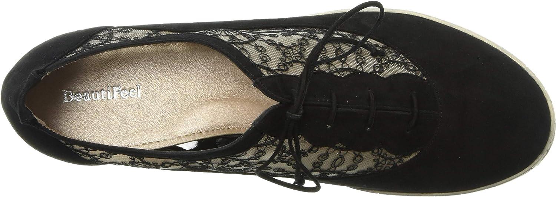 BeautiFeel Women's Rosalie Sneaker Black Suede French Lace Mesh