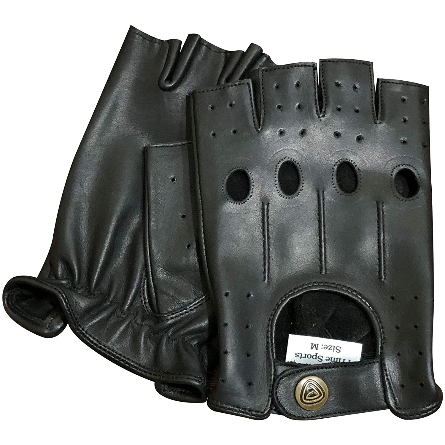Brand new vintage retro style fingerless leather fashion driving cycle glove 317