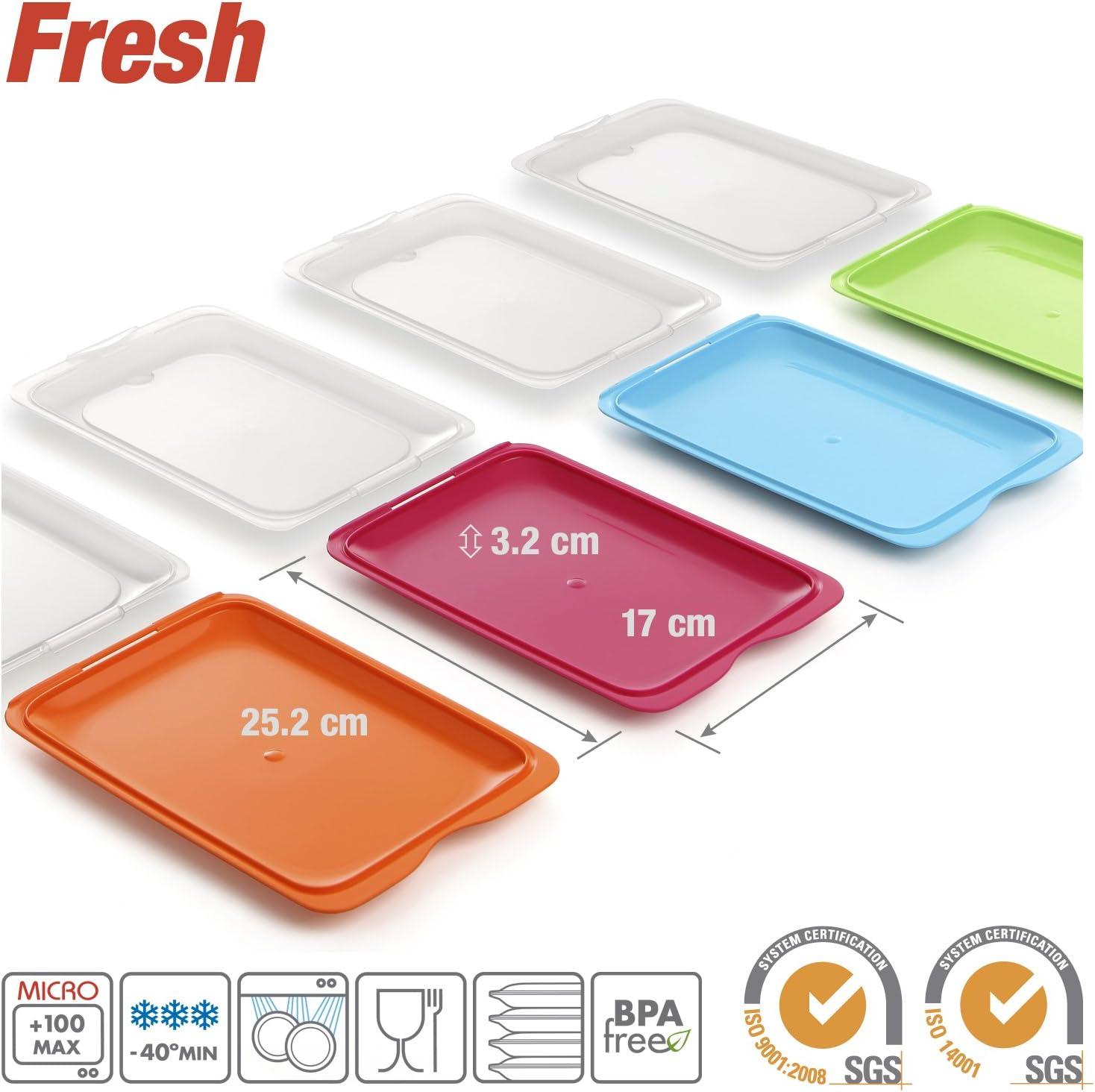 Verde y Rosa Medidas 17 x 3.2 x 25.2 cm Tatay Lote 6 Porta Embutidos y Alimentos Fresh en Colores Sutidos Azul Naranja