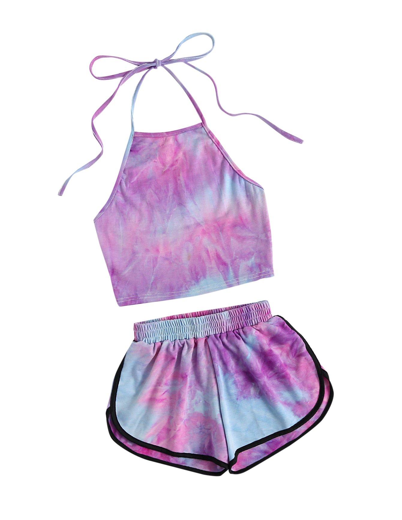 SweatyRocks Women's 2 Piece Set Halter Crop Top and Shorts Set Tie Dye M by SweatyRocks