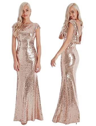 Goddiva Champagne Sequin Open Back Maxi Evening Dress Bridesmaid Prom Ball Party (14, Champagne
