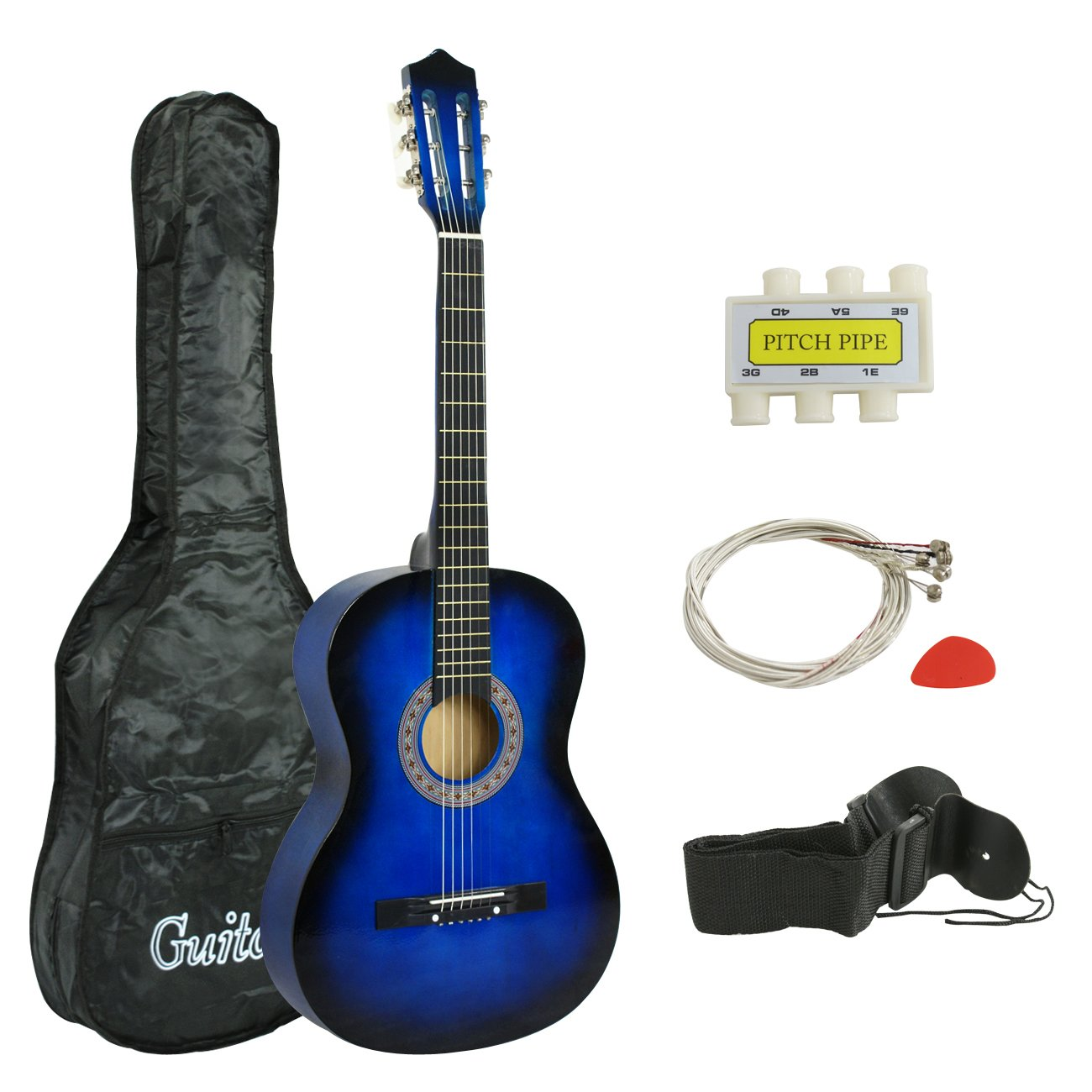 Smartxchoices Acoustic Guitar for Starter Beginner Music Lovers Kids Gift 38'' 6-String Folk Beginners Acoustic Guitar With Gig bag, Strap, Tuner and Pick (Blue) ... by Smartxchoices