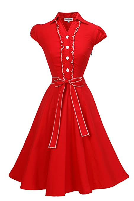 Swing Dance Dresses | Lindy Hop Dresses & Clothing Vienna Summer Women's Romantic Modest Swing Vintage Party Dress $22.74 AT vintagedancer.com