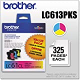 Brother Genuine Standard Yield Color Ink Cartridges, LC613PKS, Replacement 3 Pack of Color Ink, Includes 1 Cartridge…