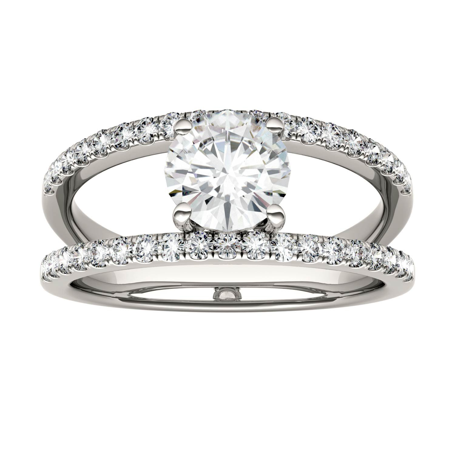 Forever Brilliant Round 6.0mm Moissanite Geometric Ring - size 9, 1.18cttw DEW By Charles & Colvard