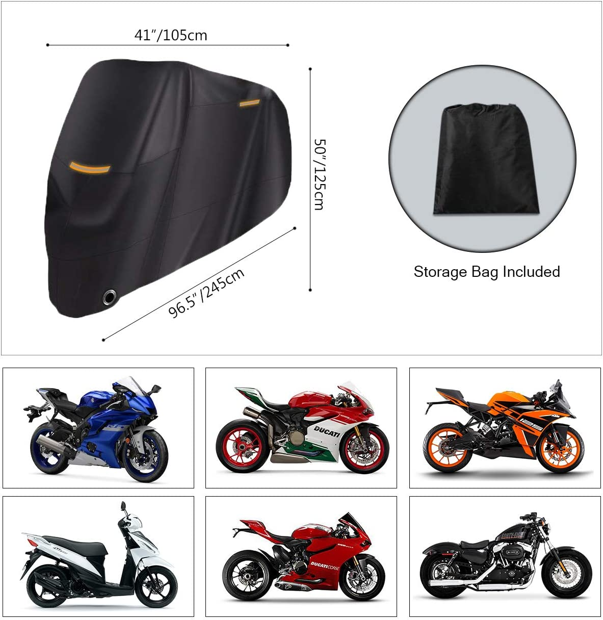 Riider Original Premium Quality Outdoor Waterproof Motorcycle Cover Heavy Duty Durable Thick 210D Fabric Motorbike Cover All Season Anti UV Scratch Heat-Resistant Outdoor Protection 96.5x41x50inch
