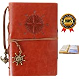 Refillable Leather Notebook,Travelers Journal with pockets,Diary Notebook,Vintage Journals to write in for women and men,Bonus Plastic Zipper Pocket and Card Holders,7 Inches,Brown